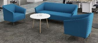 Tux Armchairs + 3 Seater  Sofa In Blue Fabric + White Coffee Table