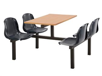 FD1 Fast Delivery Fast Food Unit - 4 Seater, Access Both Sides, Beech Table
