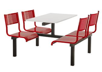SD3 Fast Food Unit - 4 Seater, Access Both Sides, White Table