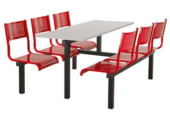 SD3 Fast Food Unit - 6-Seater, Access Both Sides, Grey Table
