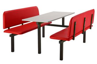 SD4 Fast Food Unit - 6-Seater, End Access, Grey Table