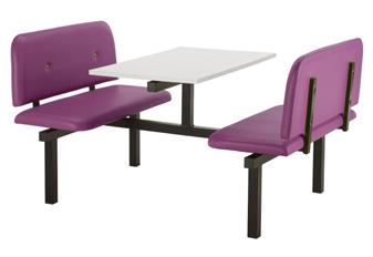 SD5 Fast Food Unit - 4 Seater, Access Both Sides, White Table