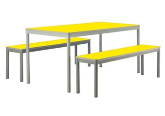 Centro Dining Table & Benches - Yellow Tops