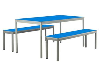 Centro Dining Table & Benches - Blue Tops