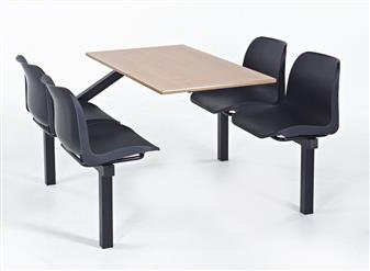 Eco Range Fast Food Seating Unit - 4-Seater - Access One Side