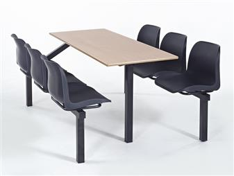 Eco Range Fast Food Seating Unit - 6-Seater - Access One Side