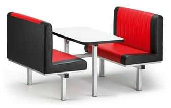 Dyad Fast Food Upholstered Seating Unit - 4-Seater - Access 1 Side