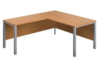 Goalpost Leg Return Desk (Left Hand Return Pictured) - Oak