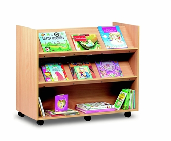 Mobile Library Unit With 1 Flat & 2 Angled Shelves On Each Side