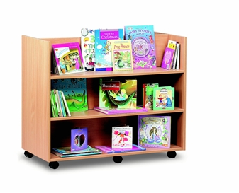 Mobile Library Unit With 3 Straight Shelves Each Side