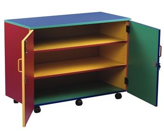 Coloured Medium Storage Cupboard With 2 Shelves - Open Doors
