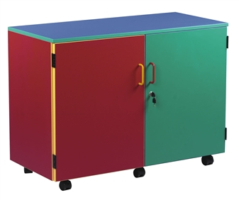 Coloured Medium Storage Cupboard With 2 Shelves - Closed Doors