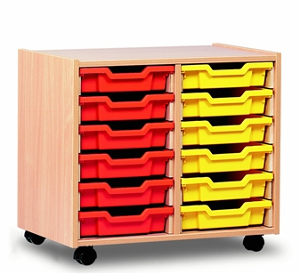 Wooden 12 Shallow Tray Storage Mobile