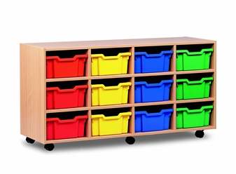 Wooden 12 Deep Tray Storage Mobile