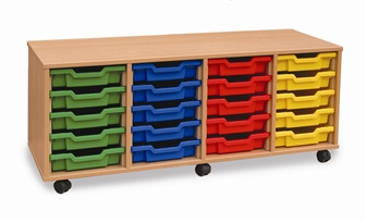 Wooden 20 Shallow Tray Storage - 4 Store Mobile