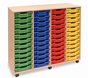 Wooden 48 Shallow Tray Storage - 4 Store Mobile