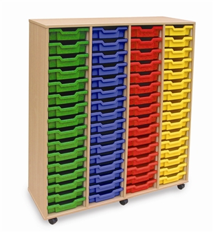 Wooden 64 Shallow Tray Storage - 4 Store Mobile