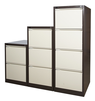Brown/Beige Metal 2, 3, & 4-Drawer Filing Cabinets