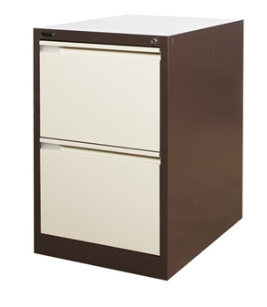 Brown/Beige Metal 2-Drawer Filing Cabinet