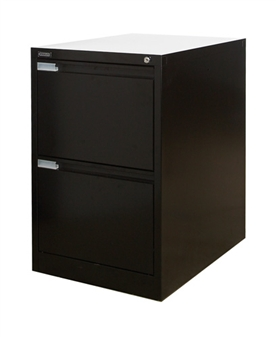 Black Metal 2-Drawer Filing Cabinet