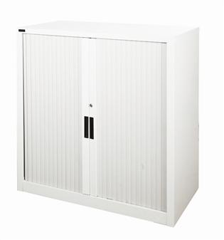 1m High Grey Tambour Storage Cupboard