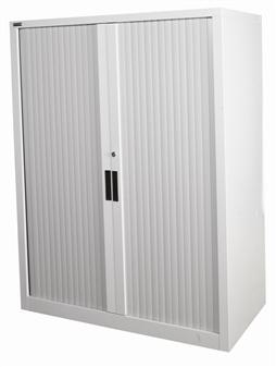 1.3m High Grey Tambour Storage Cupboard