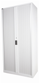 2m High Grey Tambour Storage Cupboard