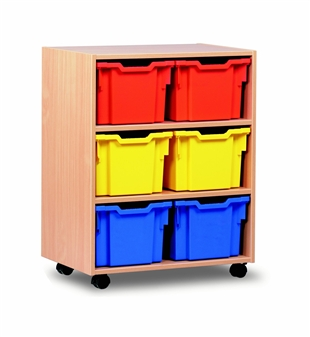 Wooden 6 Deep Tray Mobile Storage Unit
