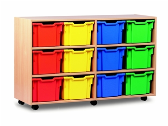 Wooden 12 Deep Tray Mobile Storage Unit