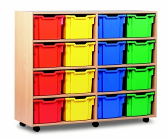 Wooden 16 Deep Tray Mobile Storage Unit