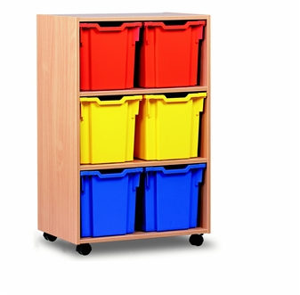 Wooden 6 Jumbo Tray Mobile Storage Unit - Tall