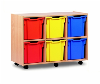 Wooden 6 Jumbo Tray Mobile Storage Unit - Low