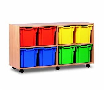 Wooden 8 Jumbo Tray Mobile Storage Unit