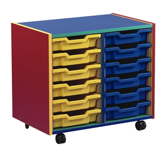 Coloured Carcass 12 Shallow Tray Mobile Storage
