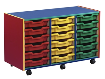 Coloured Carcass 18 Shallow Tray Mobile Storage