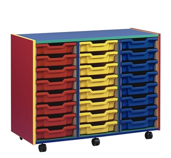 Coloured Carcass 24 Shallow Tray Mobile Storage