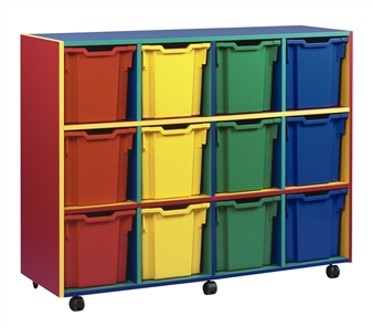 Coloured Carcass 12 Jumbo Tray Mobile Storage Unit Red/Yellow/Blue/Green Split