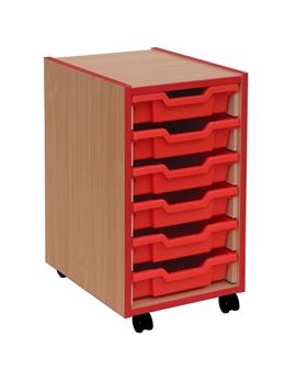 Coloured Edge 6 Shallow Tray Storage Mobile