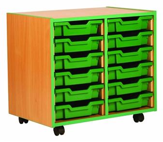 Coloured Edge 12 Shallow Tray Storage Mobile