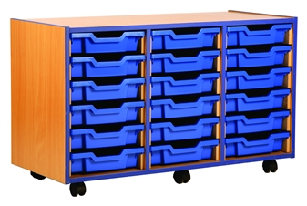 Coloured Edge 18 Shallow Tray Storage Mobile