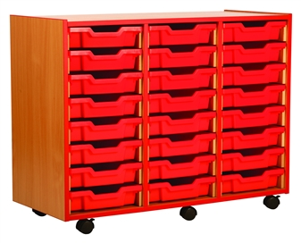 Coloured Edge 24 Shallow Tray Storage Mobile