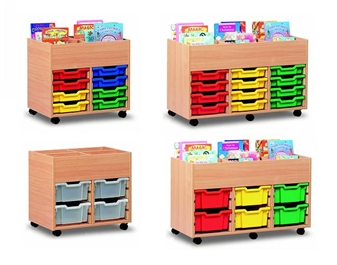 Plastic Tray Mobile Wooden Storage Units