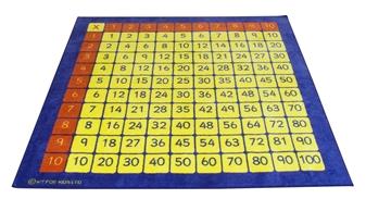 100 Square Multiplication Grid Carpet