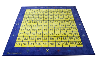 100 Square Counting Grid Carpet