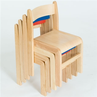 Natural Wood Stacking Classroom Chair - Stacked