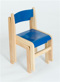 Blue / Natural Wood Stacking Classroom Chair