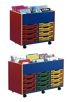 Coloured Carcass Plastic Tray Mobile Kinderbox Storage Units