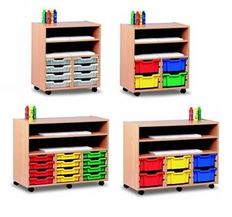 Wooden Shelf Storage Units With Plastic Trays