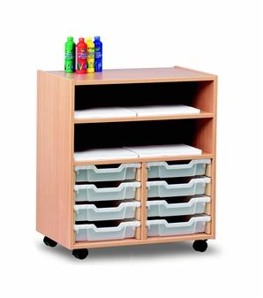 8 Shallow Tray Wooden Shelf Storage Unit