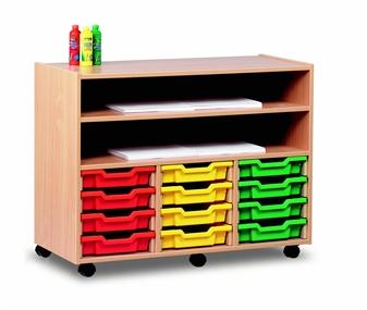 12 Shallow Tray Wooden Shelf Storage Unit